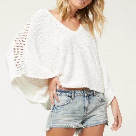 O'Neill Sweaters - O'Neill White Mazatlan Poncho Crochet Sweater